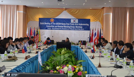 The 6th AKFTA Implementing Committee was held on 28 February - 1 March 2012 in Pakse City, Lao PDR. Officials from ASEAN and Korea met to discuss agenda move forward the implementation of the AKFTA.